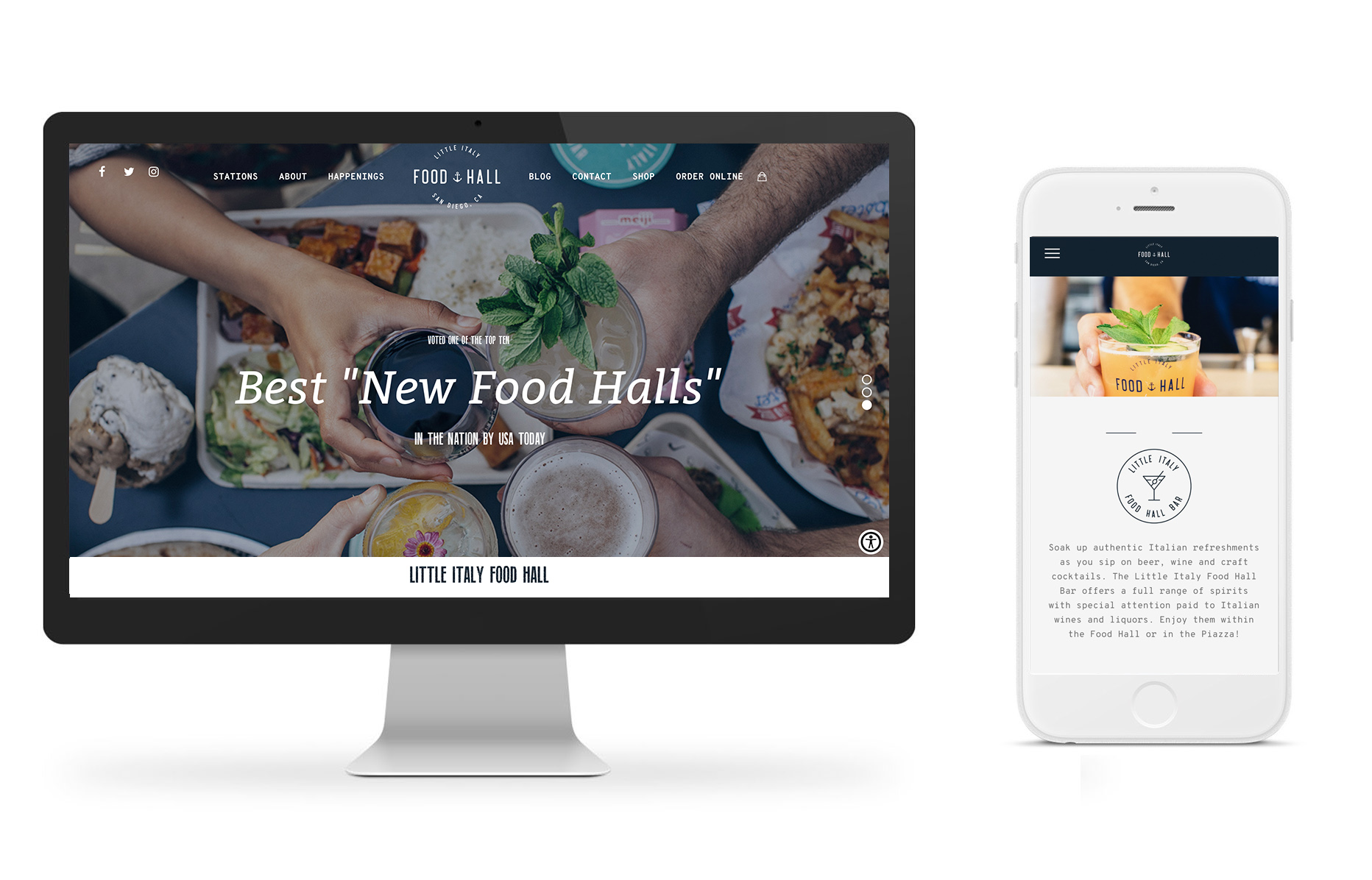 Various devices showcasing the Little Italy Food Hall website design.