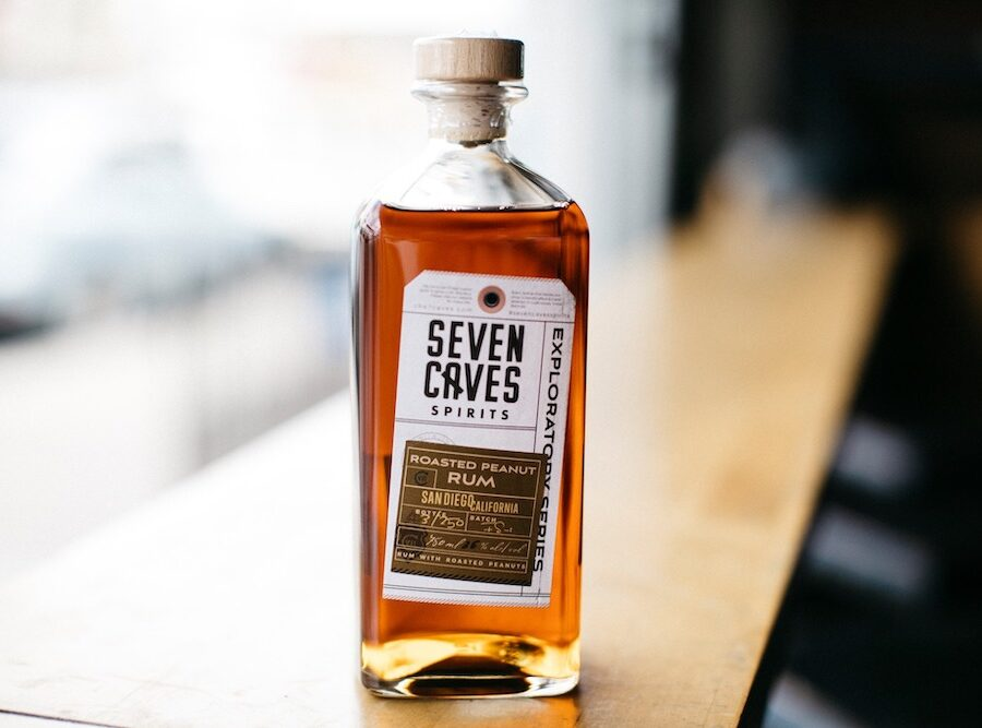 A bottle of Seven Caves Spirits Roasted Peanut Rum