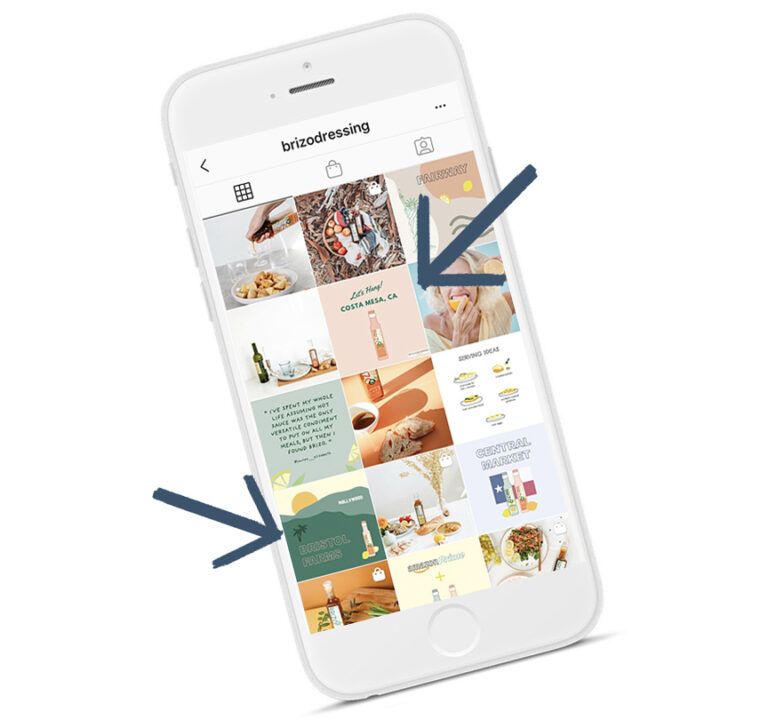 An iphone with the @brizodressing instagram feed shown on it.